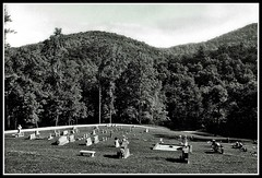 At Peace in the Hills (jhpen2) Tags: churchyard cemetary foothills appalachia blackandwhite bw olympusom zuiko