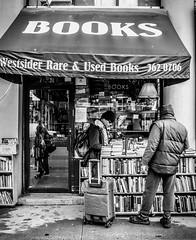 Upper West Side Books, NYC (broadswordcallingdannyboy) Tags: red mono bw city manhattan nyc ny newyork eos7d leonreillyphotography leonreilly copyright donotcopy mood atmosphere newyorkcity usa eastcoast americafuckyeah america bwcity light newyorkminute newyorkstateofmind newyorkmono nycinbw