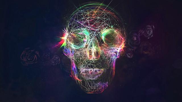 Обои череп, абстракция, яркий, фон картинки на рабочий стол, фото скачать бесплатно