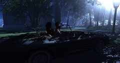 What house are we going to rob (noroprouder) Tags: mesh stealing car snapshot couple bankrobbers robbers money secondlife drive girl male oldtimer