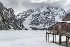 Lago di Braies | Dolomites (NأT) Tags: lago lac braies pragser wildsee winter snow freeze frozen mountain montagne rock peak woods nature landscape explore exploring exploration discover travel light clouds sky sony alpha7iii alpha7 water bolzano dolomiti dolomites alpes alps italy austria croda becco dobbiaco chalet inexplore explored memories