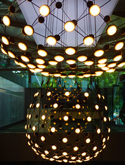 Light Chocolate (Steve Taylor (Photography)) Tags: chandelier reddotdesignmuseum singapore architecture design museum brown green mauve wire glass asia city shape curve pattern