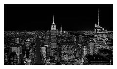 Empire State of Mind (Robgreen13) Tags: usa nyc newyorknewyork empirestatebuilding freedomtower cityscape nightscape topoftherock rockefellercenter skyline bw monochrome urban manhattan