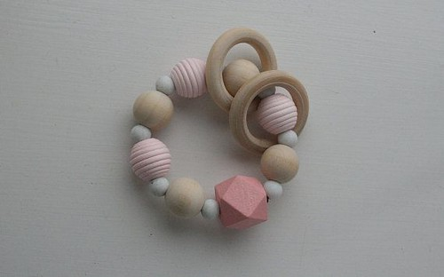 Best Bracelet 2017/ 2018  : Teething ring teether toy baby silicone bracelet wooden toy rattle baby shower g...