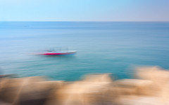 """The Lost Boat [ICM] (""""The Wanderer's Eye Photography"""") Tags: 2018 bangalore canoneos450d canoneosdslr canoneosrebelxsi digitalphotography icm india lrthefader photography rubenalexander susanalexander thewandererseyephotography abstract art background blue blur blurred boat breakers bright calm cameramotion cameramovement creative elements horizon intentional intentionalcameramotion intentionalcameramovement landscape longexposure marine motion motionblur movement moving nature ocean opaque pattern peaceful red sea seascape seaside serene sky smooth speed vivid water"""