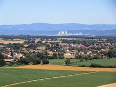 Village and view to Centrale Nucléaire EDF du Bugey, landing at Lyon, France (Paul McClure DC) Tags: lyon france july2017 architecture scenery fromtheair aerial rhône isère ain auvergnerhônealpes