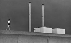 Exploring the surroundings (rob kraay) Tags: factory chimney blackandwhite robkraay darksky concretewalkway people bw architecture lines rotterdam maasvlakte