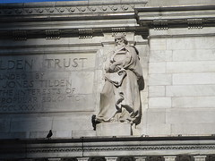 NY Public Library - Attic Allegorical Statue - Philosophy 3567 (Brechtbug) Tags: new york public library attic statues above main entrance 5th ave facade city caryatid atlantid 2019 nyc 03112019 art architecture designed by artist sculptor paul wayland bartlett carved the piccirilli brothers was two lions six allegorical figures represent l r history romance religion poetry drama philosophy