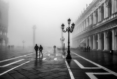 Not many of us about this morning (photofitzp) Tags: bw blackandwhite fog grainy italy stmarkssquare venice