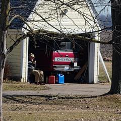 Herb (joeldinda) Tags: garage neighbors pickup truck home mulliken friends potter tree omd em1ii 4506 lawn em1 march omdem1mkii olympus spring 2019 77365