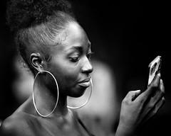 heed (gro57074@bigpond.net.au) Tags: guyclift heed 2019 march sydney candidportrait grain f28 70200mmf28 nikkor d850 nikon monotone monochrome mono bw blackwhite earrings woman face portrait candid