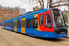 Sheffield Supertram 399203 (Sam Pedley) Tags: 399203 supertram sheffieldsupertram class399 citylink tramtrain cathedral sheffieldcathedral vossloh stagecoach 2a39 emu electricmultipleunit vehicle railway train railroad tram