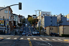 San Francisco (xtaros) Tags: california xtaros sanfrancisco lombardstreet divisadero hill hilly trafficlights cars buildings downhill