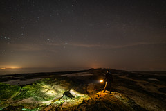 Heading Into The Darkness (Rob Pitt) Tags: hilbre island night stars merseyside wirral west kirby lightpainting samyang 14mm f28