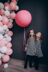 4 years old girls with air balloons. (nekrasovatatyana) Tags: happy beautiful girl celebration balloon holiday fun female sisters party child birthday kid happiness childhood people 4years air colorful joy cute small playing little white 2person laughing beauty smiling adorable young lifestyle studio play style funny carefree black colourful fashion celebrating striped color life holding nature portrait event pink