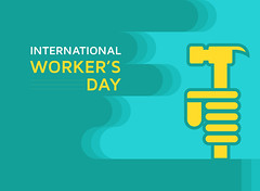 May First Internatinal Workers Day, Happy Labor Day Banner (graphicstall) Tags: cloud blue success tools protection label icon business construction person white people worker isolated sign safety helmet character human job labour day happy workers may design card symbol holiday flat banner celebration creative international message modern style mayday rights union background revolution socialism strong party employers man freedom yellow