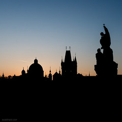 dusk at charles bridge (ewaldmario) Tags: rot orange blau silhouette prague praha europe city dusk ewaldmario nikon fine art statue bridge zlata golden d800 2470 prag czech tschechien