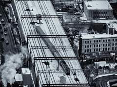 Bird's Eye View ...  (c)rebfoto (rebfoto..away on assignment..) Tags: train rebfoto urbanscape birdseyeview monochrome blackandwhite city cityscape cityview rail railway