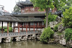 Poetic and Mysterious (Esther Spektor - Thanks for 12+millions views..) Tags: garden shanghai china architecture plant tree water rock bridge building windows roof pagoda reflection spring estherspektor canon
