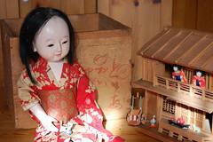 Ichimatsu doll with her dollhouse_0406 (Emily1957) Tags: ichimatsudoll ichimatsu antique dolls doll toys toy dollhouse groundoystershell light naturallight nikond40 nikon kitlens kimono obi shero6820