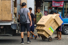 Boxes (Beegee49) Tags: street men boxes handcart planet happy moveing luminar sony a6000 bacolod city philippines asia
