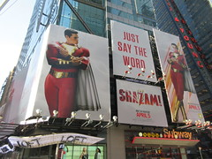 Shazam The Big Red Cheese Billboard 42nd St NYC 3824 (Brechtbug) Tags: shazam billboard 42nd street new captain marvel the big red cheese poster ad nyc 2019 times square movie billboards york city work working worker paint painting advertisement dc comic comics hero superhero alien dark knight bat adventure national periodicals publication book character near broadway shield s insignia blue forty second st fortysecond 03142019 lightning flight flying march