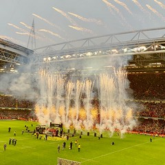 Grand Slam Champions! (Wendy G Davies) Tags: supporters welsh win fans crowd cardiff principalitystadium winners triplecrown trophies celebrations rainy rain wet 6nations champions grandslam rugbyunion rugby wales cymru