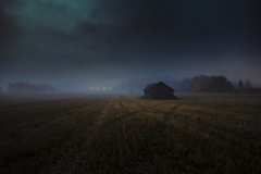 There is no safe place for me to hide! (Night and Mood photographs from Finland) Tags: rain night mood finland misty fog field barn autumn light trees clouds sky dark