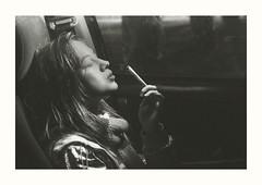 (teddybear--11) Tags: blackandwhite bw girl woman portrait photography photoshop photo car light smoking january oklahoma