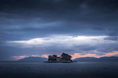 sunset 8579 (junjiaoyama) Tags: japan sunset sky light cloud weather landscape orange blue contrast color lake island water nature winter calm dusk serene