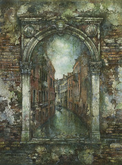 Portal (Yaroslav Gerzhedovich) Tags: surreal venice arch decay drtbrush artwork painting paper texture cityscape brick canal cracks weathered illustration color acrylic miniature portal