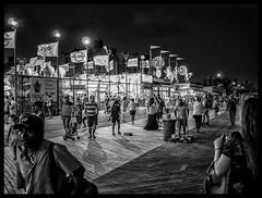 Luna Park (Branko Gregov) Tags: fineartphotograhpy fineart newyorkcity newyork coneyisland blackandwhite nightphotography amusementpark brooklyn travel park rides people crowds boardwalk tourists summer