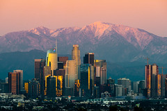 Downtown Los Angeles (vandusenerik) Tags: los angeles la socal southern california sky line dtla mountains san gabriel sunset purple city scape urban nikon d800
