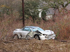 Ex MG F.... (Andrew 2.8i) Tags: wales classic classics carspotting spotted spotting street car cars streetspotting united kingdom british roadster sports sportscar open cabriolet abandoned crash crashed wreck wrecked mgf f mg