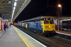 50007 + 50049 Warrington Bank Quay 5th January 2019 (John Eyres) Tags: 50007 hercules 50049 defiance arrive warrington bank quay with pathfinders the waverley reunion 0455 birmingham new street edinburgh tweedbank locos currently disguised 50006 neptune 50011 centurion