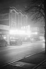 Art (dvlmnkillatron) Tags: 35mm film kodak bw selfdeveloped analog night evening champaign kodaktmaxp3200 pushed 6400 fog arttheatre marquee