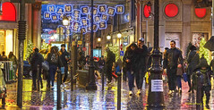 shopping in the rain (albyn.davis) Tags: panorama shopping rain wet winter holidays paris france europe printemps people colors colorful red night light street reflection