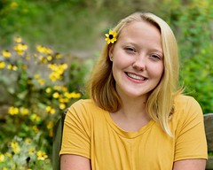 Bright Beauty (R.A. Killmer) Tags: angie seniorphotos senior pose portrait cheerleader canonmac highschool blonde beauty southpark depth field dof smile flower yellow nikon d750