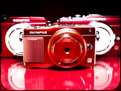 Olympus Red. . . The Pen. . . (CWhatPhotos) Tags: cwhatphotos camera photographs photograph pics pictures pic picture image images foto fotos photography artistic that have which contain digital black micro four thirds olympus macro closeup 43 rds 43rds light shadow art round circle circular graphic logo vision approach view em2 red pen lite bodycap body cap lens 15mm mini penmini epl1 epl2 cameras collection reds rouge rojo rot 赤 9mm