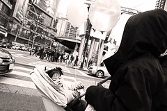 Toronto (kirstiecat) Tags: baby girl daughter carriage toronto canada downtown yongestreet people strangers balloon blackandwhite noireetblanc street canon monochromemonday monochrome child kid toddler balloons
