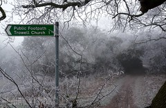 Frosty Morn, Trowell, Nottingham (Lady Wulfrun) Tags: frosty morning footpath canal paath trees cold winter trowell nottingham sign church trowellchurch nottinghamcanal walk