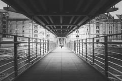 Walk the city pier (frank_w_aus_l) Tags: hamburg anna nikkor nikon d800 perspective light bridge germany monochrome bw sw noiretblanc netb walk line steel