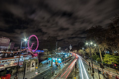 view from the bridge (Paul Wrights Reserved) Tags: light lighttrails london londonstreets clouds cloudscape cloud longexposure londoneye leadinglines colour vibrant night nightphotography nighttime