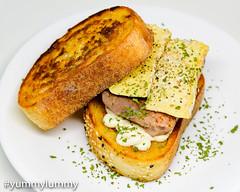 Sous vide steak and blue cheese sandwhich (garydlum) Tags: beef bluecheese butter cheese garlicaioli sourdoughbread sousvide steak canberra australiancapitalterritory australia au