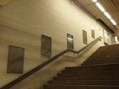 Du ahnst es nicht-Galerie (mkorsakov) Tags: dortmund hbf bahnhof mainstation nordausgang treppe stairs handlauf handrail werbung commercial rahmen frames keinewerbung wtf