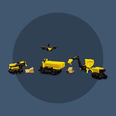 Mech Monday #7: Construction Crew (roΙΙi) Tags: mech mechmonday construction cementmixer drone digger dumptruck