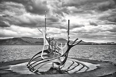 Sun Voyager (johnscratchley) Tags: landscape blackandwhitephotography iceland sculpture luminar 3 hdrlandscape vikings longboats