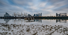 Down by the River.... (Aleem Yousaf) Tags: london morning long exposure sunrise blue drag sky low point view perspective mist reflections river thames docklands canary wharf path photography camera digital nikon nikkor 1835mm wide angle tripod d810 big stopper lee neutral densit filter happy design water photo walk architecture modern building tower outdoor cityscape mud chain clouds south east tide