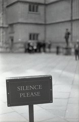 Silence (Myahcat) Tags: oxford library bodleian 35mm film blackandwhite analogue monochrome ilford fp4 fp4party yashica yashicafri