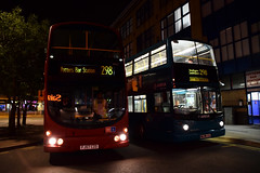 Sullivan Buses WVL3 on Route 298 and Arriva London DLA23, Potters Bar (e400olympus) Tags: sullivan buses wvl3 fj57czd arriva london dla23 s223jua volvo b9tl wrightbus wright gemini alexander dennis adl alx400 daf db250